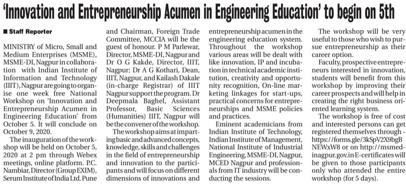 IIIT Nagpur organized Innovation and Entrepreneurship Workshop - 2020 on 5th Oct, 2020.