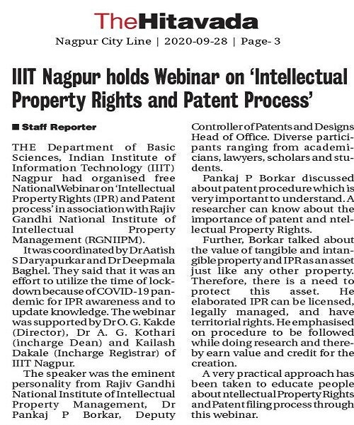 IIIT Nagpur organized National Workshop on IPR - 2020