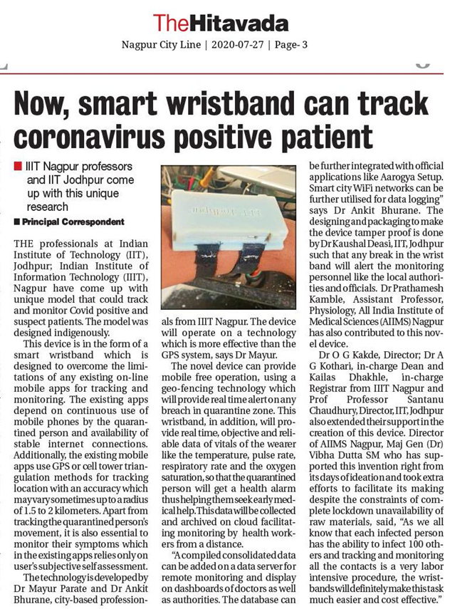 Smart Wristband designed by IIIT, Nagpur for Covid-19 patients