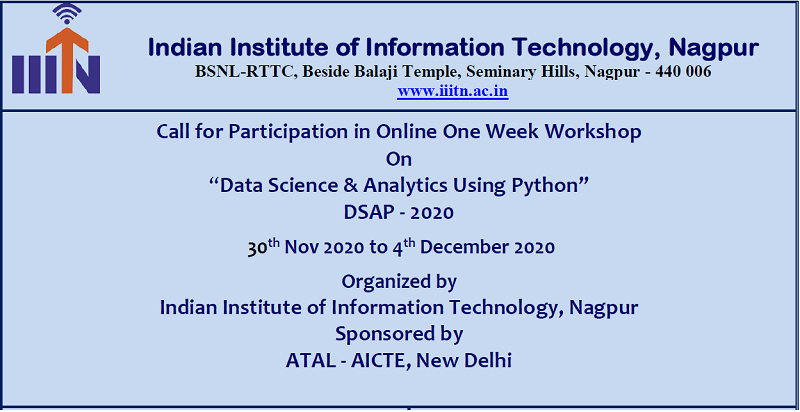 "One Week Workshop On ""Data Science & Analytics Using Python"" DSAP - 2020"