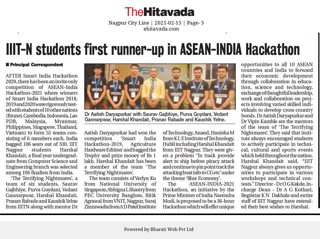 IIIT-N Students First runner-up for ASEAN-INDIA Hackathon 2021